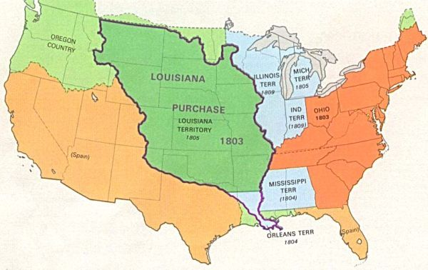 Us Map With Territorial Purchases Globalinterco - Us territorial influence 1914 map