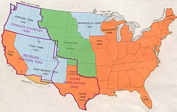 Us Territorial Expansion Annexation Of Mexican Territory Mexico Became Independent From Spain In 1812 Compiled By H George Stoll Hammond Incorporated